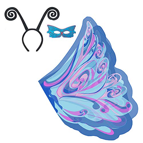 BJ-SHOP Schmetterling Kostüm Für Mädchen, Schmetterlingsflügel Party Fairy Butterfly Wings, Mask, Headband, 3Pcs Set