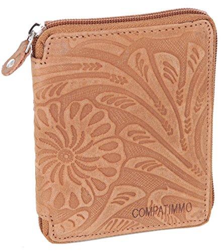 Damen Geldbörse mit Reißverschluss Portemonnaie Reißverschlussbörse Geldbeutel Damen-Börse Echt-Leder AM-1406F Camel-Braun -