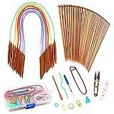 Rain Queen Tricot Outil Ensemble 18 Pairs Aiguilles Circulaires 80 cm Tube Multicolore 18 Pairs Aiguilles Bambou (2.0mm-10mm) Coffre Accessoires pour Tricotage Laine écharpe Bonnet DIY (#1)