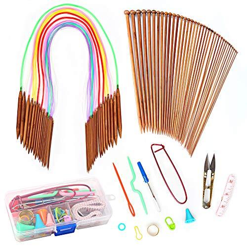 Rain queen - set di 18 paia di ferri circolari, 80 cm, tubo multicolore, 18 paia di aghi in bambù (2,0 mm-10 mm), accessori per lavorare a maglia, lana, sciarpa, berretto fai da te #1