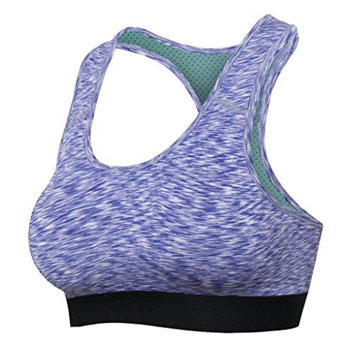 Bmeigo Donna Quick Dry Training Racerback Exercise Yoga Reggiseno Sportivo Vest Tops Purple