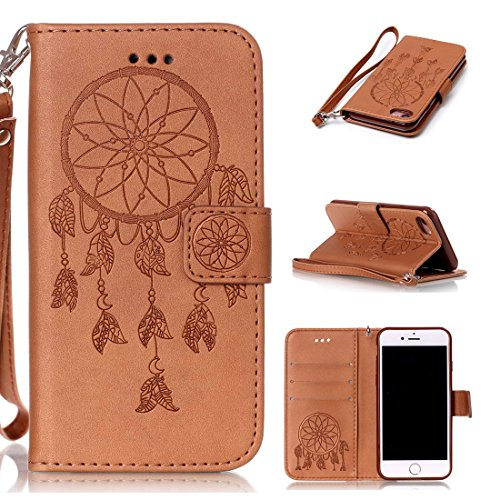 iphone 7(4.7inch) Coque,Flip Coque cover PU Cuir Housse Protection Cover pour iphone 7(4.7inch)- Stand soutien/Card Slot /fermeture magnétique-Fleur d'or Brown Dreamcather