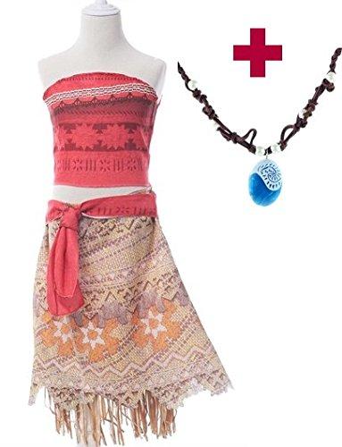 Kleid Moana Prinzessin Kinder Kostüm Verkleidung + Gratis Vaiana Kette (Größe 8-9 Jahre - 140-146 (150)) (Senorita Halloween-kostüme)