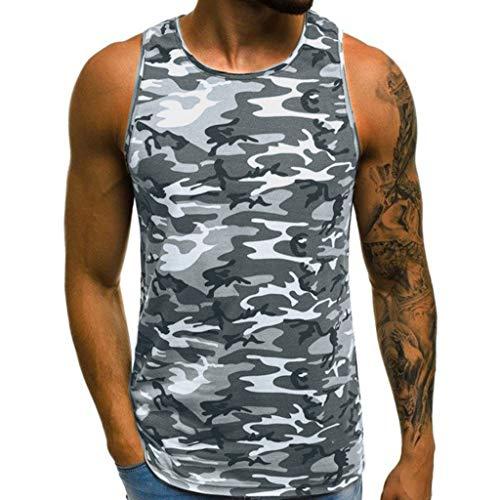 ZHANSANFM Herren Tanktop Tank Top Tankshirt Camouflage T-Shirt mit Print Unterhemden Ärmellos Weste Muskelshirt Freizeit Fitness M Grau