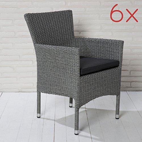 6er Set stapelbare Armlehnstühle aus der Möbelserie Modesto in grau mit Sitzkissen für Garten,...
