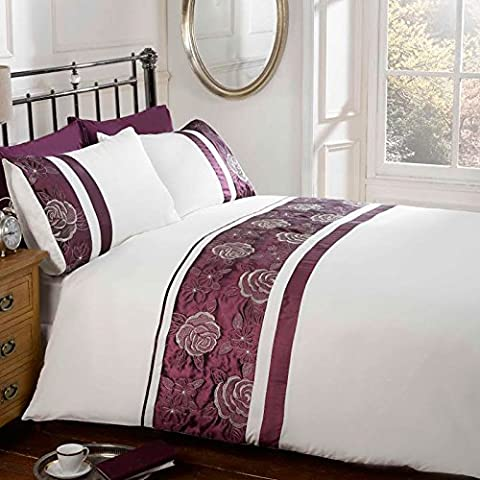 Just Contempo Embroidered Duvet Cover Set - King, Purple