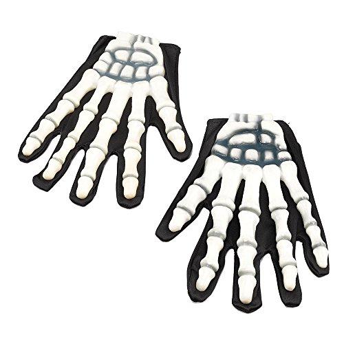 3Skelett Handschuhe mit Gummi Finger, weiß, One Size ()