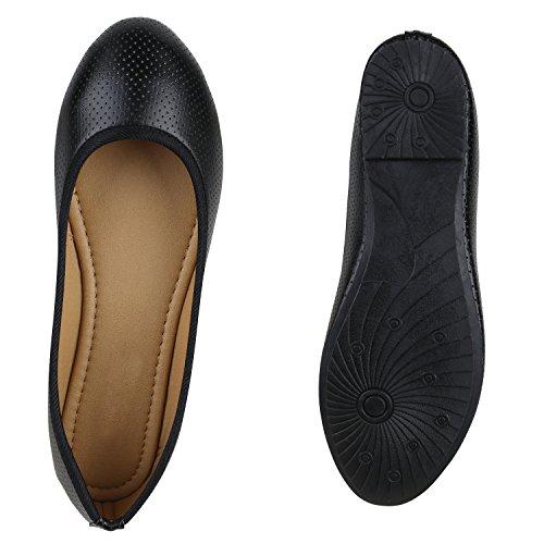 Klassische Damen Ballerinas | Flats Leder-Optik Lack | Metallic Schuhe Glitzer Schleifen | Ballerina Schuhe Übergrößen Schwarz All