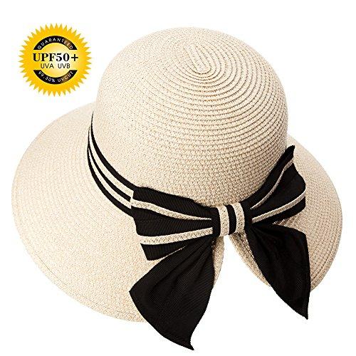 Strand Damen-hüte (SIGGI beiger Stroh faltbarer UPF 50 + Sonnen Shade Strand Sonnenhut für Damen breite Krempe)