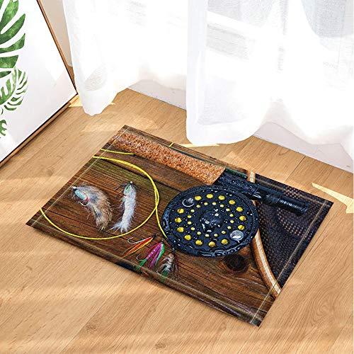 SHUHUI Schwarze Angelwerkzeuge und Bunte Angelhaken auf braunem Holztisch Wasserdichte Rutschfeste Chemiefußmatten