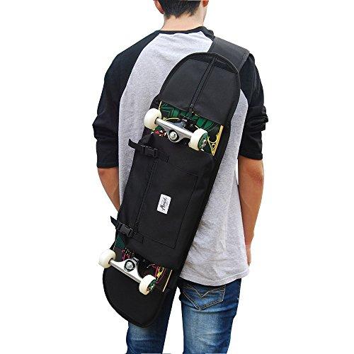 """Mochila porta skate para transportar monopatin forma comoda en tablas completa hasta 8.5"""" (21 cm.) Especial para niños, adolescente o adultos patinadores, color negro."""