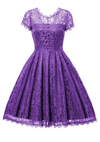 Gigileer Elegant Damen Kleider Spitzenkleid Cocktailkleid Knielanges Vintage 50er Jahr hochzeit Party violett XXL (Frauen Der 50er Jahre)