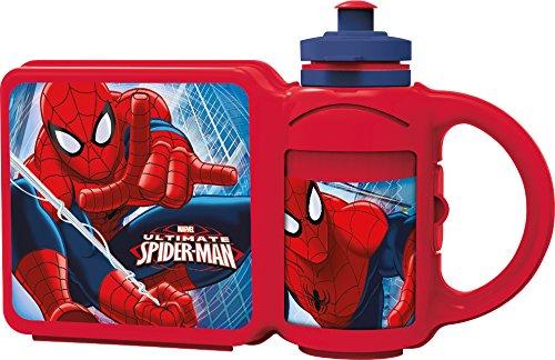 Nuovo da bambino blu/rosso plastica spiderman Scatole Porta Pranzo con Bottiglia.-Blu/Rosso-Taglie 1-1, plastica, Red, 25x6.8x15.8 cm