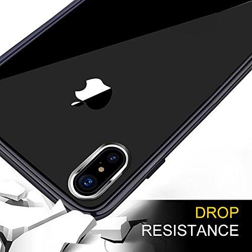 Custodia iPhone X, innislink Cover iPhone X Cases Silicone morbido TPU Shock Absorbing Anti-Scratch Anti-scivolare Anti-giallo Crystal Clear Custodie Protettiva Caso per iPhoneX iPhone 10 - Nero Grigio