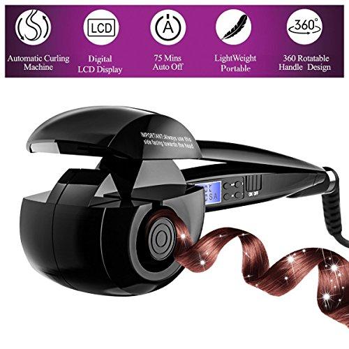Fypo Lockenstäbe Lockenmaschine Automatische Haar Curling mit Keramikheizsystem und Digitalem LED-Display (3 Wege, 4 Einstellungen von Zeit, 3 Temperaturstufen)