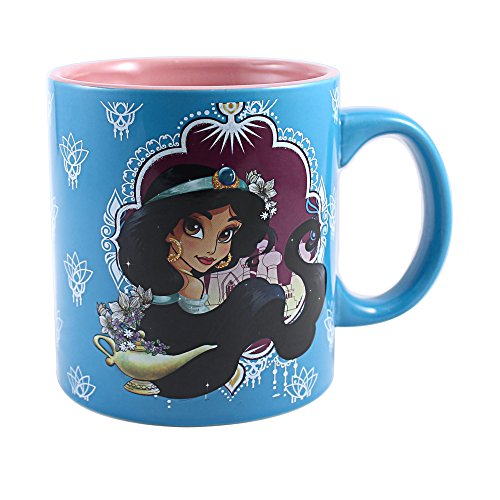 Disney DP9634G Silver Buffalo Princess Jasmine Jumbo Ceramic Glitter Mug, 20 oz, Multicolor by Disney - Jumbo Ceramic Mug