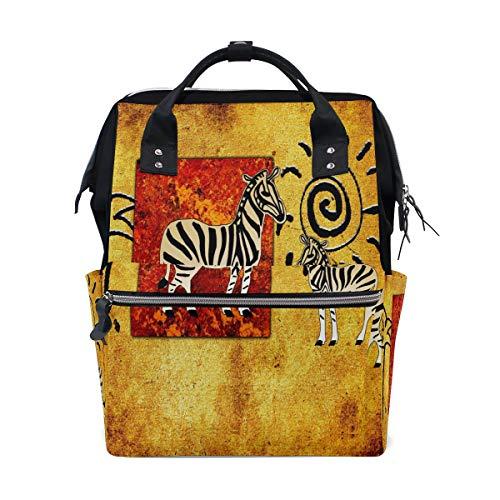 Bigjoke Wickelrucksack Afrikanisches Tier, Zebra, multifunktional, große Kapazität, Wickeltasche, Reißverschluss, lässig, stylisch, Reiserucksack für Mama, Papa, Babypflege -