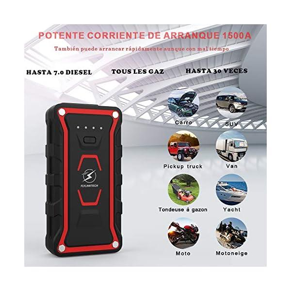 FLYLINKTECH Arrancador de Coches, 1500A 20000mAh Arrancador Batería Coche (para Todo vehículo de Gasolina o 7.0L de Diesel) de IP68 Impermeable Batería Arrancador de Coche, Carga Rápida QC3.0