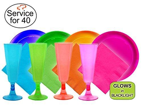 Tiger Chef Neon sortiert Party Teller, hartem Kunststoff Teller, verschiedene Neon Farben Pink, Blau, Grün und Orange, plastik, Assorted Neon, Fiesta Neon Party Pack (Party-teller Verschiedene Farben)