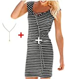 Damen Kleid Yesmile Ärmel Lose Gestreiften Locker Dress Beach Party Casual Kleid Sommer Täglich Casual Tank Kleid Mode Blusenkleid Langarm Verlieren Tunika Kurzarm T-Shirt Kleid (L, Grau-1)