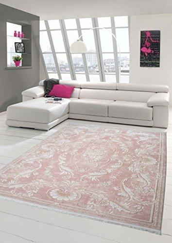 Designer Teppich Moderner Teppich Wollteppich Meliert Wohnzimmerteppich Wollteppich Ornament Rosa Pink Größe 160x230 cm