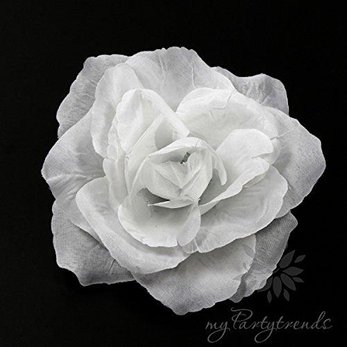 Ansteckrose, Haarrose in weiß; Modell 'Französische Rose' (Ø 11 cm; Höhe 5 cm) von myPartytrends. (Ansteckrose, Haarblume mit Schnabelspange, Haarschmuck, Seidenrose, Seidenblume, Haarrose, Haarblüte, Haarblume) (Haar-accessoires Seidenblumen)