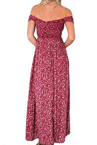 Sommerkleider Damen Strandkleider Off-Schulter Lang Abendkleid Schulterfrei Sexy Maxikleid Elegant - Très Chic Mailanda Rot