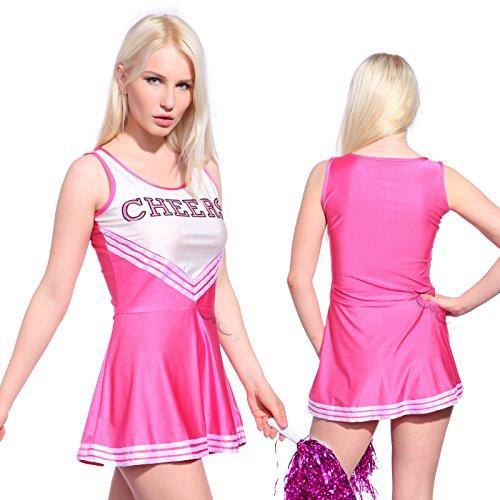 Imagen de anladia  disfraz de animadora cheerleader para adulta mujer mini vestido sin mangas con letras ¨cheers¨ color rosa talla 36 38 40 42 44 xs 36