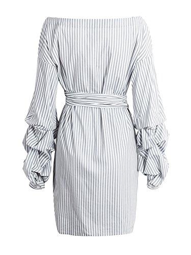 l'abbigliamento delle donne simplee festa sexy / collo decorativo da spalla a righe con mini abito scozzese Grigio