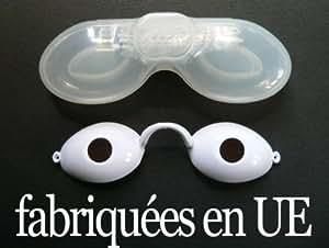 Lunettes de protection BLANCHES UV pour solarium normes CE avec élastique + boite notice bronzage bronzer