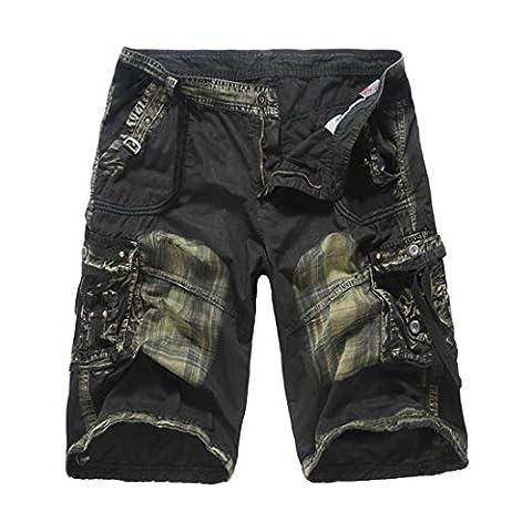 Hzcx Fashion Men's Cotton Multi-Pockets Ripstop Cargo Shorts Knee Length Capris SJXZ1800-G358-50-DGRCA-UK 38 TAG