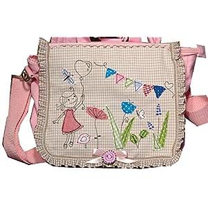 Kindergartenrucksack, Kindergartentasche mit Stickerei, Kindergartenrucksack mit Namen, Kindergartenrucksack mit Mädchen im Garten