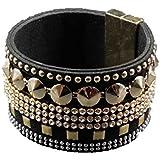 Modeschmuck Armband mit goldfarbenen Nieten und Strass für Damen