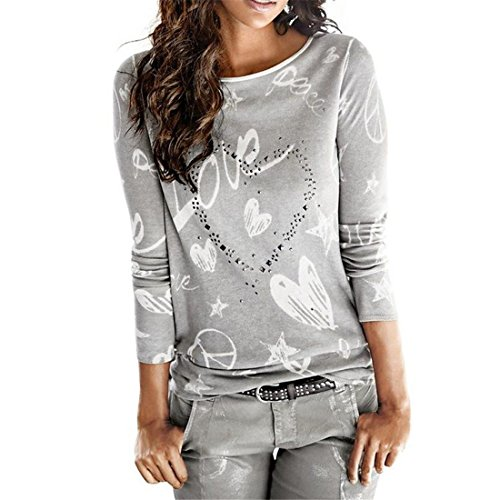 Frauen Bluse,Friendgg Damen Mädchen Langarm Brief Gedruckt Shirt Beiläufige Lose Baumwolle Frühling Herbst Winter Tops Solide Elegante Oansatz T-Shirt (ML, Grau) (Polo-top Damen)