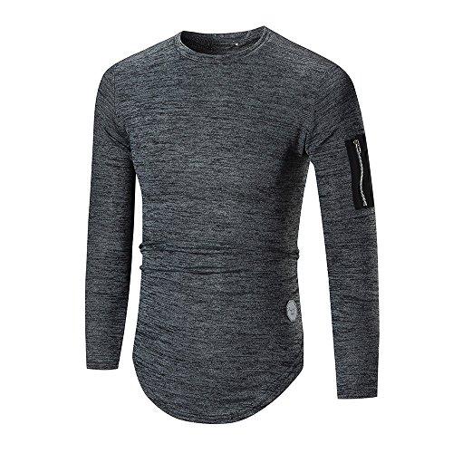Dc Mens Dress (IMJONO Herren T-Shirts Mens ' Long Sleeve Hoodie Hooded Sweatshirt Tops Jacket Coat Outwear(Large,Dunkelgrau))