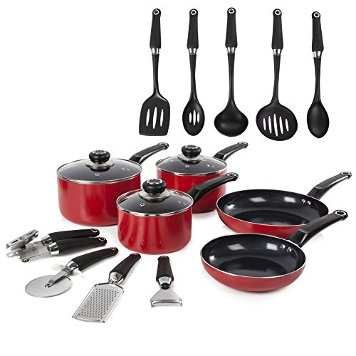 Morphy Richards Equip 5 Piece Pan Set with 9 Piece Tool Set - Red