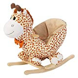 SOULONG Cheval à Bascule Enfant Girafe Bascule Bois avec Roues Peluche Bascule pour...