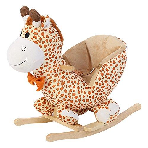 1st Safety Schaukelpferd, Giraffe Schaukeltiere Naturholz Baby mit Gurt ab 1 Jahr als 1 Jahr Geschenke 60 * 28 * 60cm
