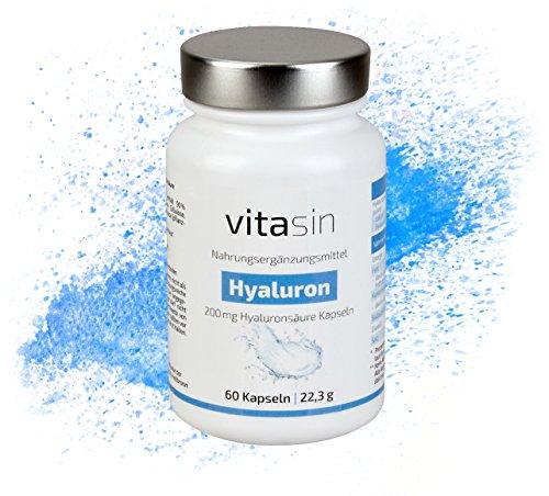 VITASIN Hyaluronsäure Kapseln I 200 mg hochdosiert für Haut und Anti Aging in Premiumqualität I 60 Kapseln 2 Monatsvorrat I Hergestellt in Deutschland I mit Zufriedenheitsgarantie