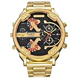 OverDose Herren Luxus Uhr Edelstahl Sport analoge Quarz Armbanduhr uhren (Golden)