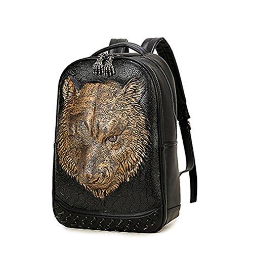 Uomo attuale testa di tigre zaino/zaino outdoor personalizzato/european e american street vento borsa doppia spalla-d'oro d'oro
