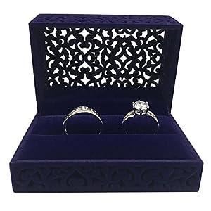 GossipBoy Hohl Sapphire Blue Ehering Box / Samt Ring Bearer Box / Schmuck Ohrring Geschenkbox