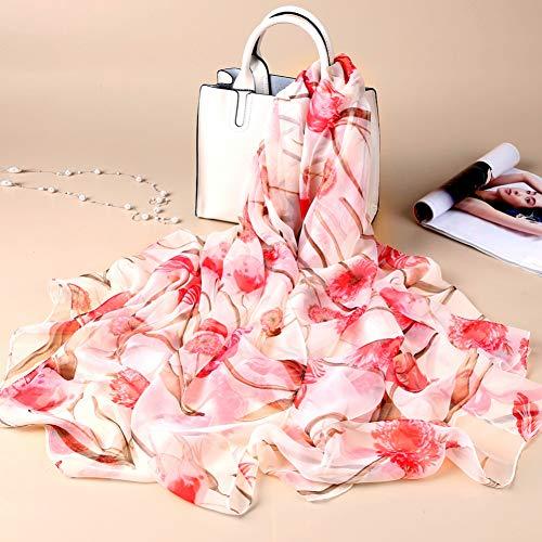 HCJZ Schal Schal Frauen Blumen Schals Sommer Foulard Femme Designer Schal Wrap Fashion Neck Bandana,White La Femme Designer