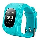 Kinder Smart Uhr, Techkoo Smart Watch für Kinder, 0,96 Zoll GPS Tracker(Wecker Stellen, Telefonieren, GPS Orten, fern reden, Schritte Zählen usw.) für iPhone, Samsung, Blau