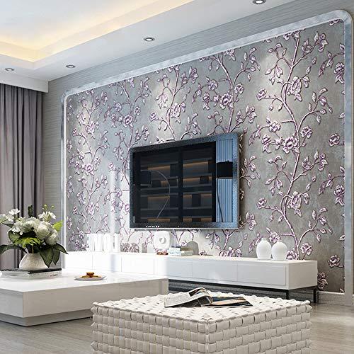 KeTian Moderne einfache 3D-Tapete von dick Vliesmaterial geprägt mit Baum-/Blumen-Muster, als TV-Hintergrund, Tapeten-Rolle Graues Lila 0.53m (1.73' W) x 10m(32.8'L)=5.3m2 (57 sq.ft)