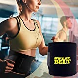 #7: Bliss Sweat Belt Premium Waist Trimmer, Sweat Waist Trimmer Fat Burner Belly Tummy Yoga Wrap Black Exercise Body Slimming Belt 3 for Men & Women (Free Size)