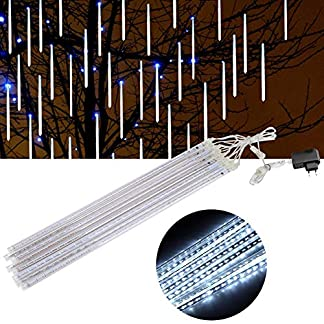 GXMZL Navidad Tubos de luz – a Prueba de Agua de 50 cm de luz 240 LED Bombillas de Navidad 8 Tubos de luz for la Fiesta de la Navidad Decoración de Exteriores Blanco Puro