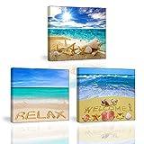 3 Set Bilder Strand, Muscheln, Sonnenschein Wandbild Dekoration, Strandlandschaft Bilder auf Leinwand, PIY Fertig zum Aufhängen und Kunstdrucke auf Leinwand Wanddeko für Küche Weihnachten Geschenk