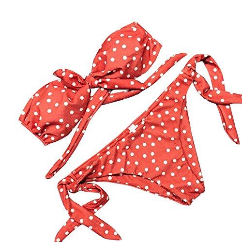 Malloom Femmes Sexy Dot Bikini imprimé Set Push-Up rembourré Bow Maillots de Bain Bandeau Beachwear Tankinis