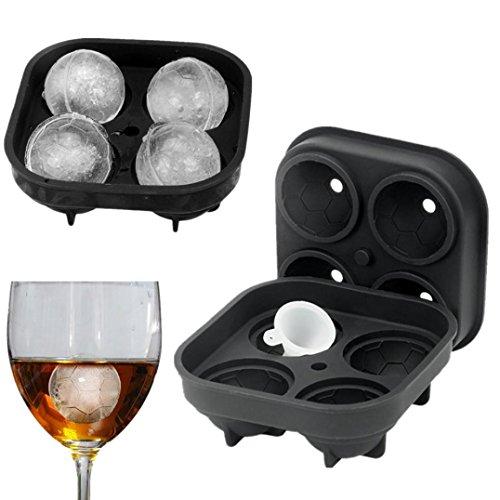 LCLrute Professioneller Premium Fußball Form 3D Eiswürfel Schimmel Silikon Maker Tray Bar Party Cocktail Whiskey Silica Fußball Eis Gitter (Schwarz) (Gefrierschrank Schwarz Professionelle)